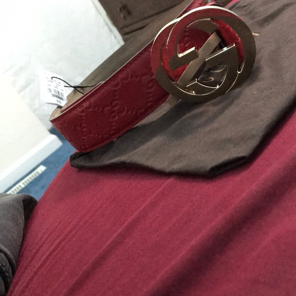 beac73e41 Gucci Accessories | Red Ssima Print Belt Size 90 | Poshmark